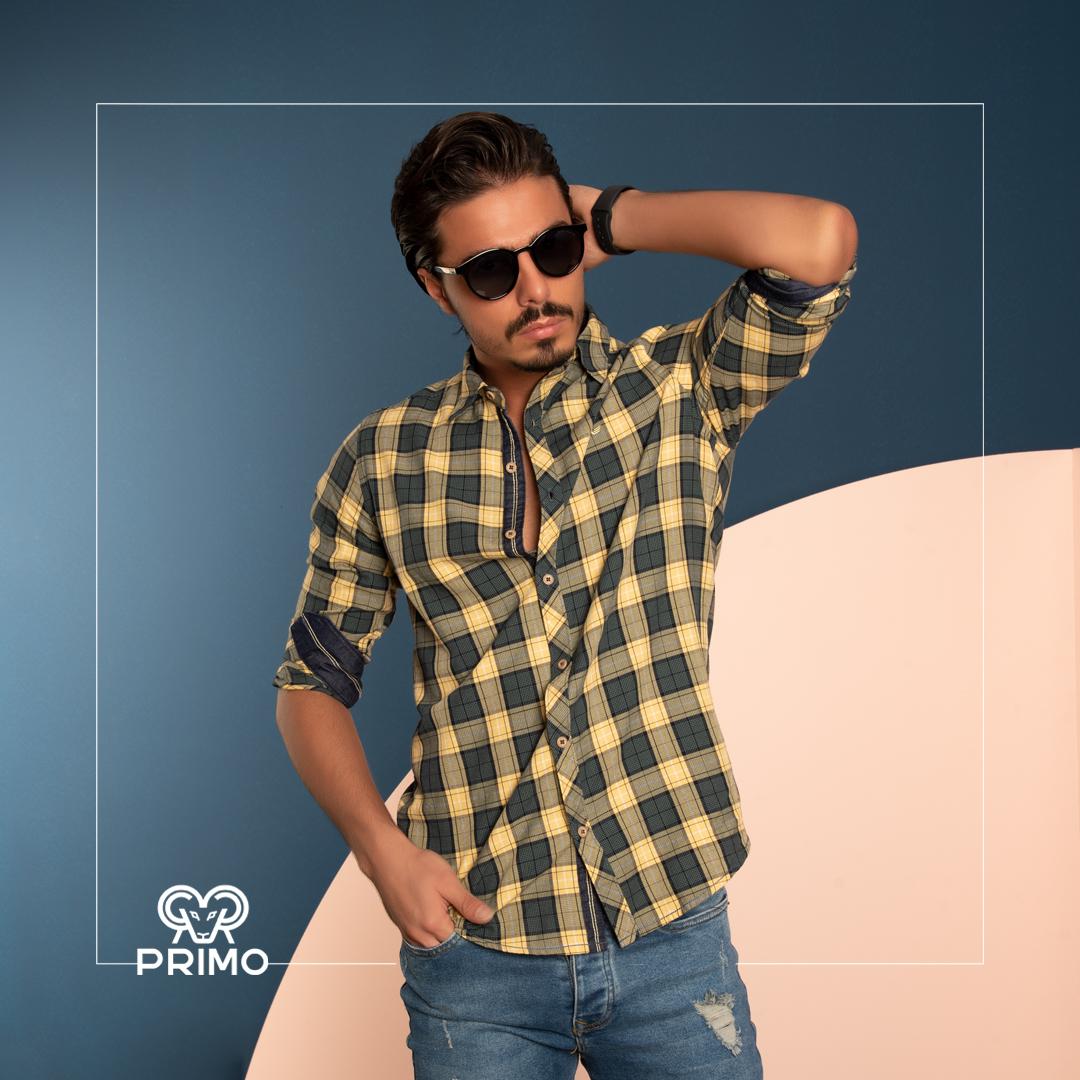 پیراهن پنبه مردانه مدل آستین بلند چهارخانه ۲۳۶۱۰۲