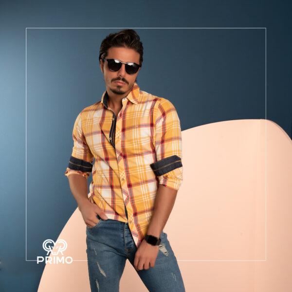 پیراهن پنبه مردانه مدل آستین بلند چهارخانه 236108