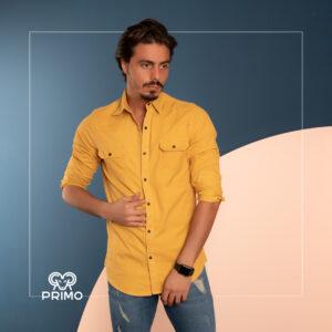 پیراهن کتان آستین بلند زاپ دار دوجیب