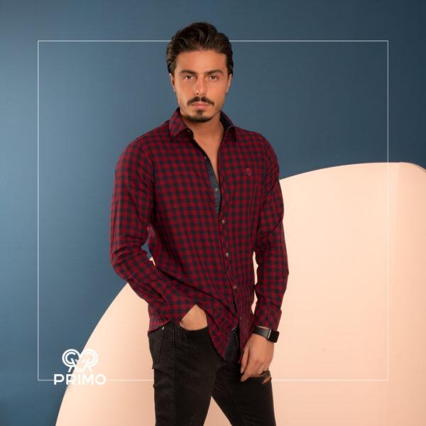 پیراهن پنبه مردانه مدل آستین بلند چهارخانه 236601