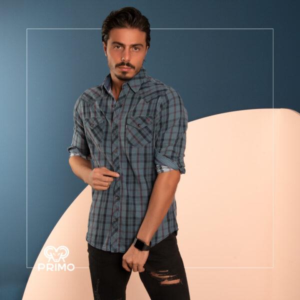 پیراهن کتان چهارخانه 236703