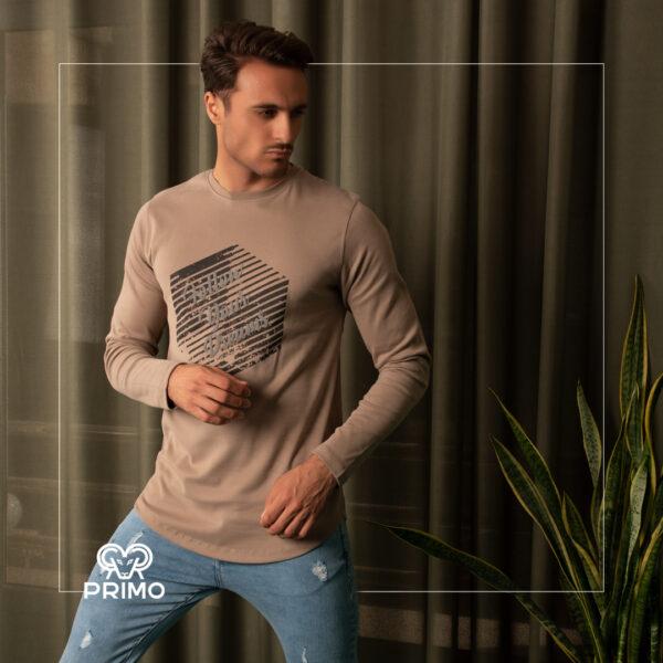 تیشرت پنبه مردانه مدل آستین بلند چاپی 513603