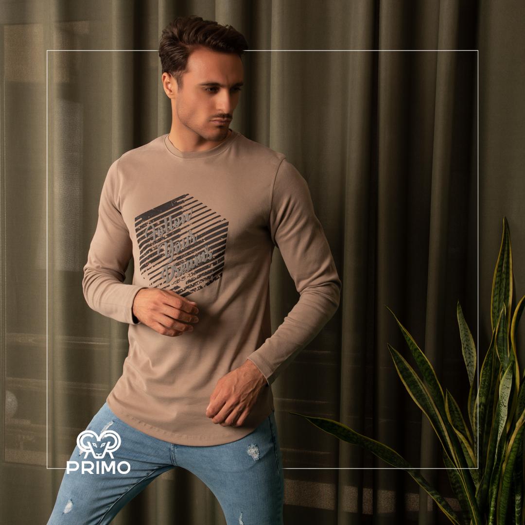 تیشرت پنبه مردانه مدل آستین بلند چاپی ۵۱۳۶۰۳