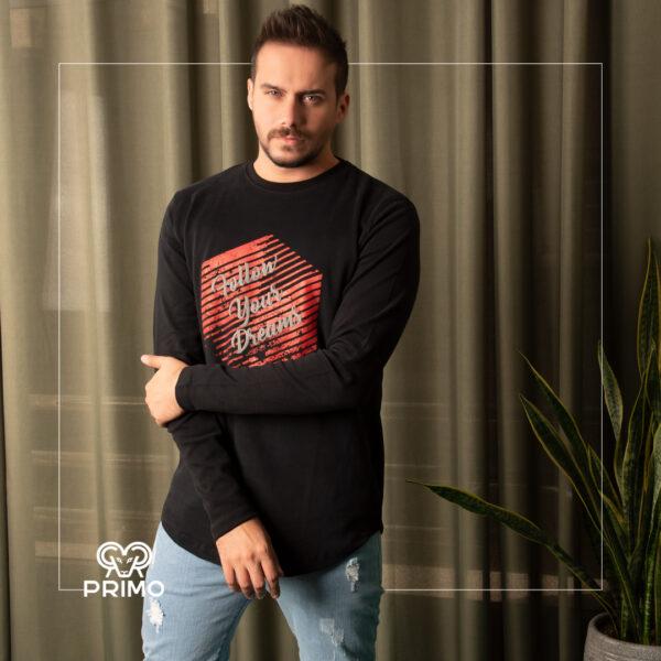 تیشرت پنبه مردانه مدل آستین بلند چاپی 513601