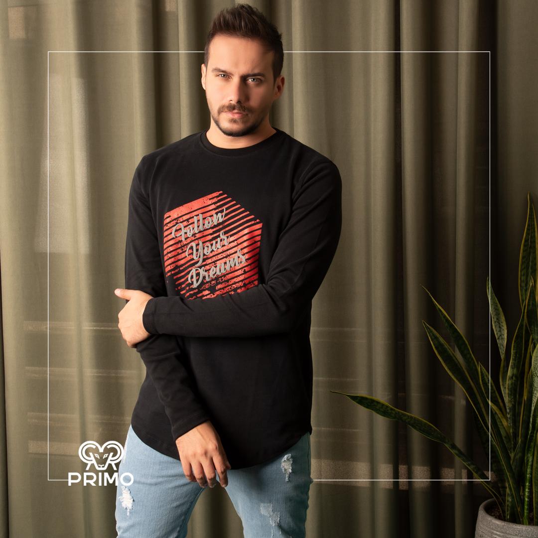 تیشرت پنبه مردانه مدل آستین بلند چاپی ۵۱۳۶۰۱