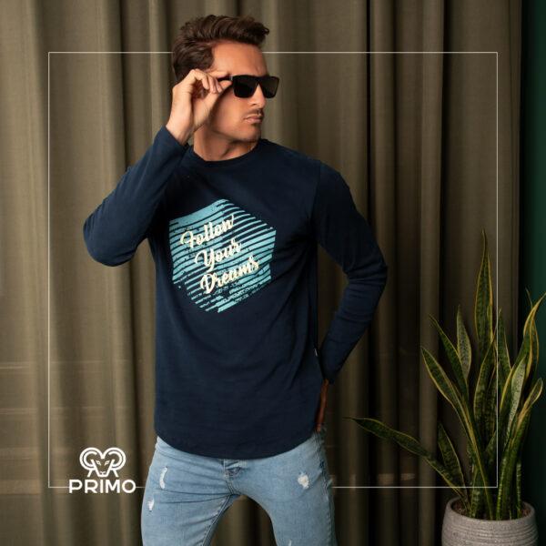 تیشرت پنبه مردانه مدل آستین بلند چاپی 513604