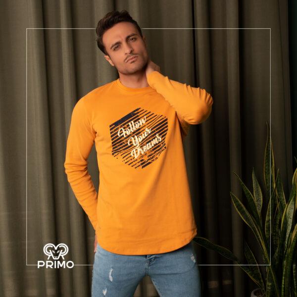 تیشرت پنبه مردانه مدل آستین بلند چاپی 513602