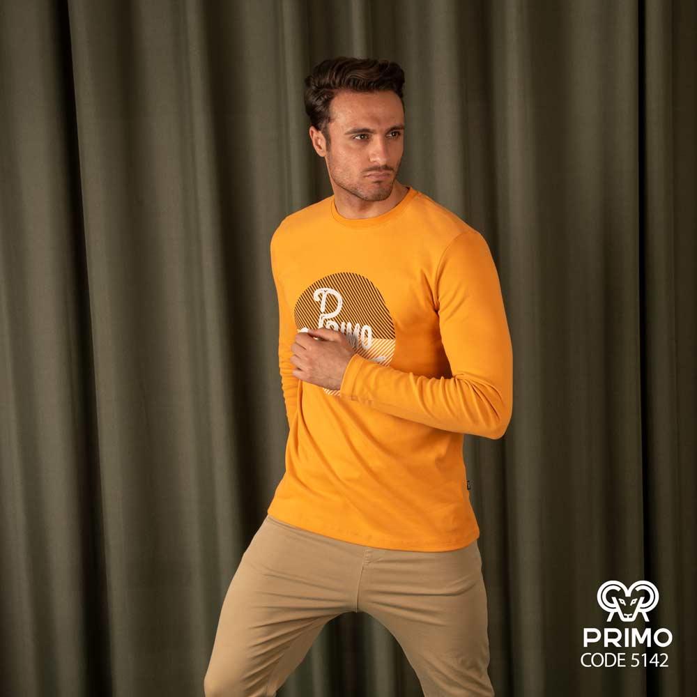 تیشرت پنبه مردانه مدل آستین بلند چاپی ۵۱۴۲۰۹