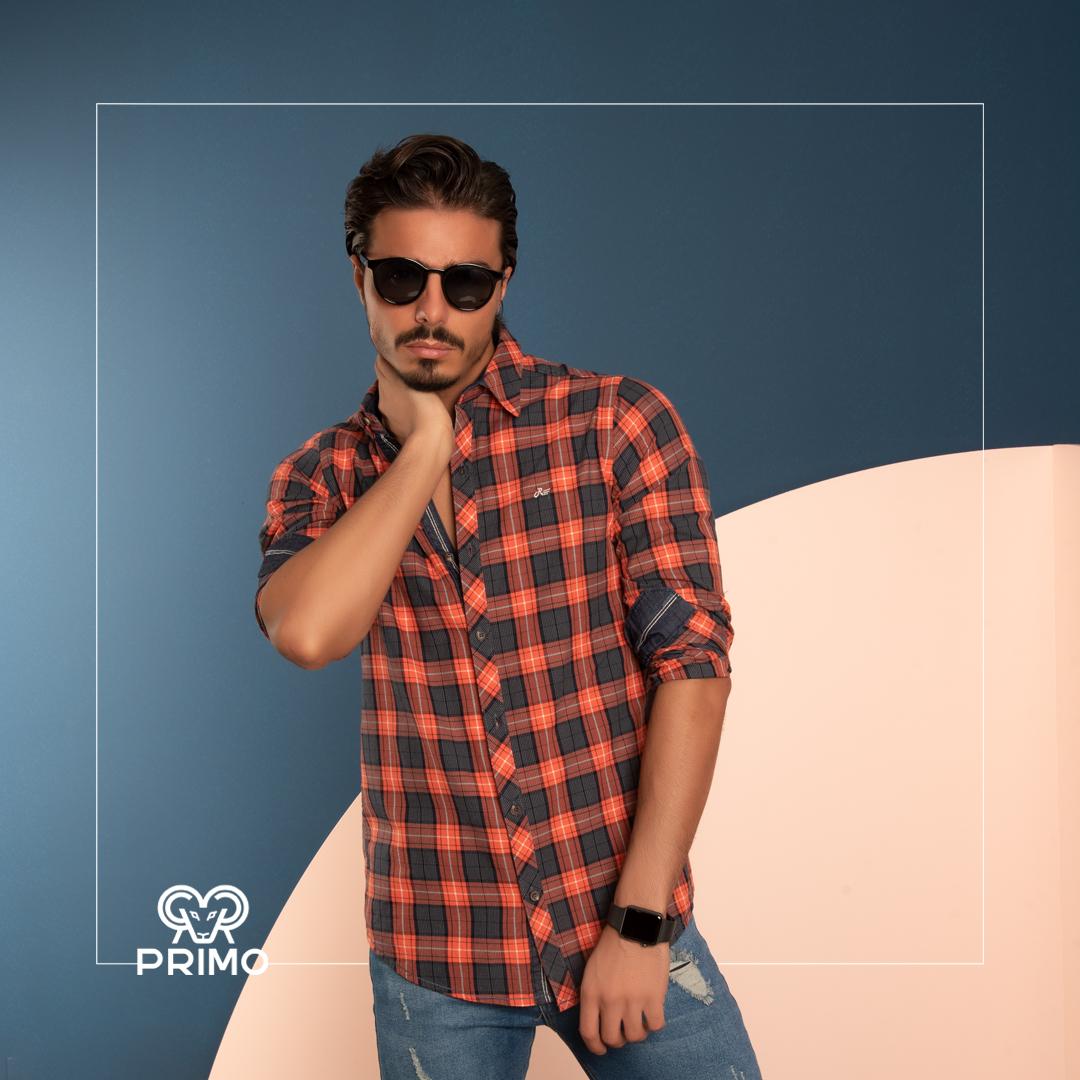 پیراهن پنبه مردانه مدل آستین بلند چهارخانه ۲۳۶۱۰۳