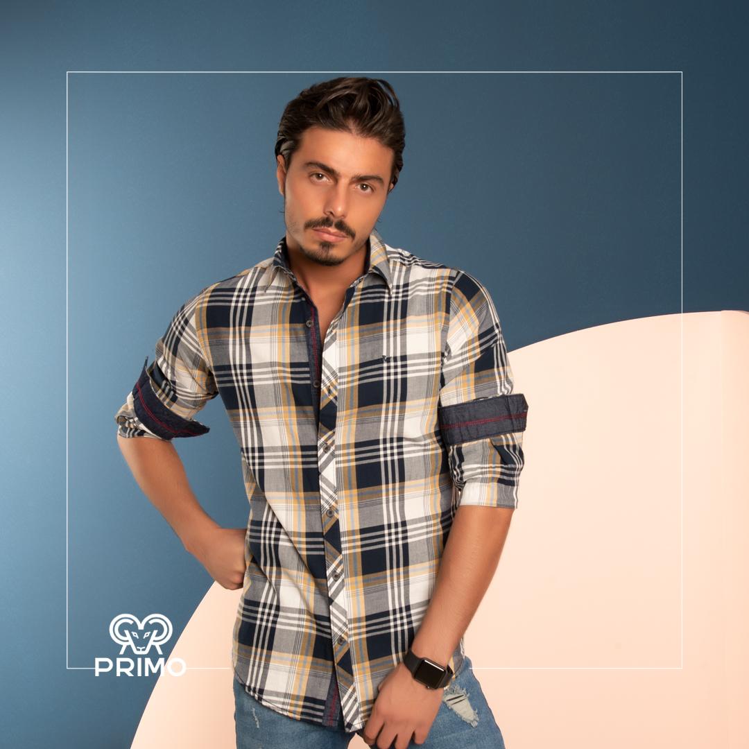 پیراهن پنبه مردانه مدل آستین بلند چهارخانه ۲۳۶۱۰۶
