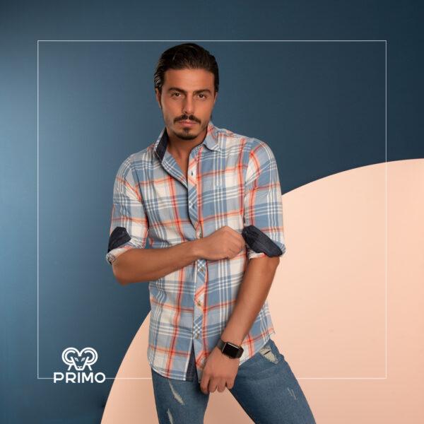 پیراهن پنبه مردانه مدل آستین بلند چهارخانه 236105