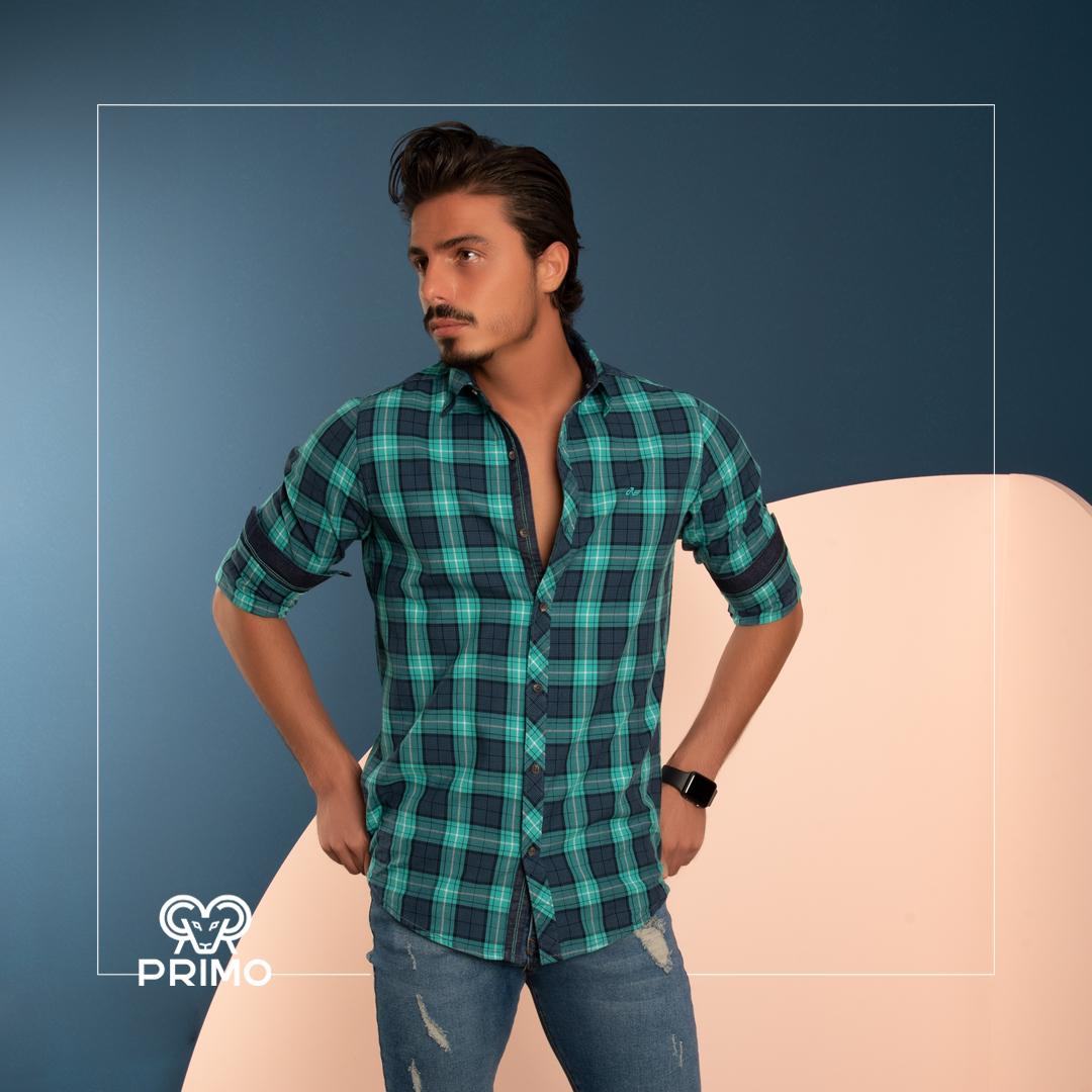 پیراهن پنبه مردانه مدل آستین بلند چهارخانه ۲۳۶۱۰۴