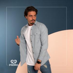 پیراهن کتان آستین بلند زاپ دار دو جیب