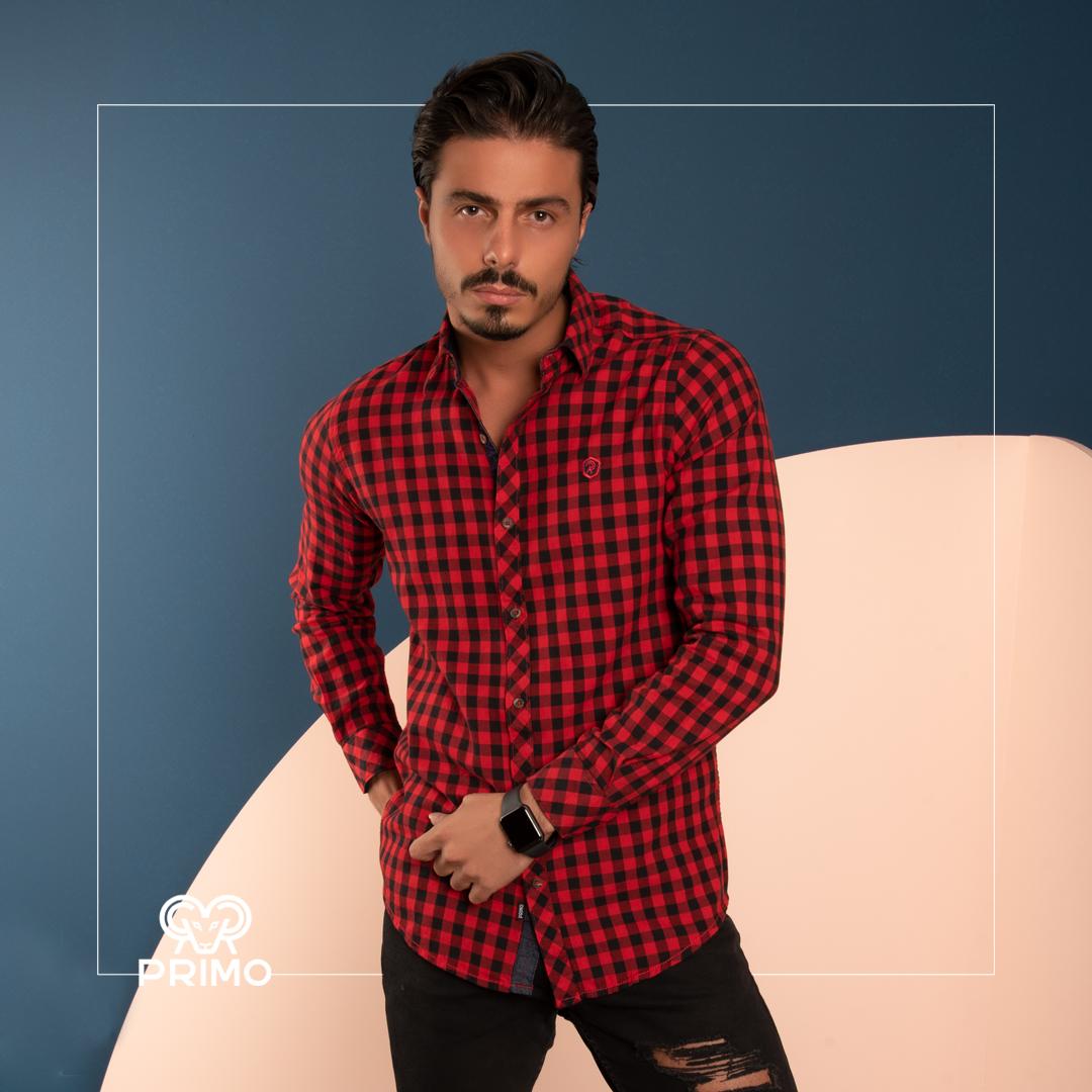 پیراهن پنبه مردانه مدل آستین بلند چهارخانه ۲۳۶۶۰۳