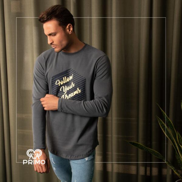 تیشرت پنبه مردانه مدل آستین بلند چاپی 513608