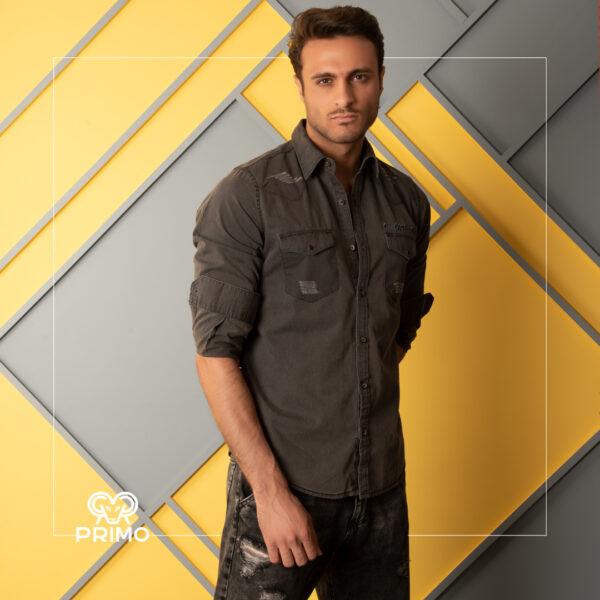 پیراهن جین مردانه مدل زاپدار دو جیب 237202
